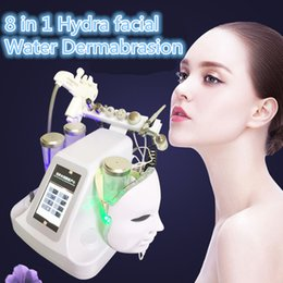 Wholesale Led Skin Mask - Newest 8 in1 Water Hydrafacial Dermabrasion Skin Deep Cleansing LED PDT Mask Oxygen Jet Cold Hammer BIO Face Lift Ultrasonic Machine