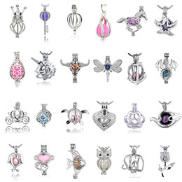 Wholesale Scent Oil Diffuser - 49 Styles Pearl Bead Cage Pendants Silver Plated DIY Jewelry Making Essential Oil Scent Diffuser Locket Pendant Jewelry Setting Gift