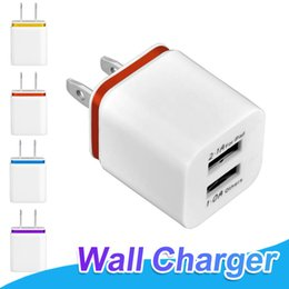 Wholesale Dual Usb Wall Charger Iphone - For Samsung S8 S9 Plus Dual USB Ports Wall Charger 5V 2.1A 1A Metal Home Charger 2 Ports Plug For iPhone X 8 Samsung S8 Note 8