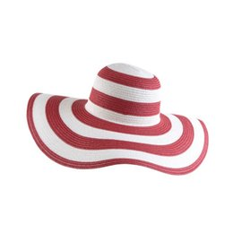 Wholesale girls black straw hat - High Quality Wide Brim Hats Fashion Straw Hat Women Summer Sunshading Beach Cap With Black And White Stripes 11ds jj