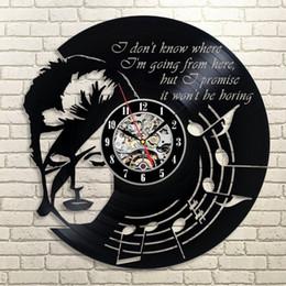 Wholesale Black Dishes - David Bowie rock musician souvenir creative home decoration vinyl dish fashion creative modern wall clock (Size: 12 inches, color: black)