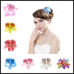 Wholesale Orchid Accessories - Newest 8cm Orchid Flower Hair Clip Foam Hair Accessory Frangipani Hairgrips Hairpin Hair Clips Girl Barrettes