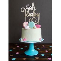Toppers do queque do feliz aniversario on-line-1 pc Oh Baby Cupcake Bolo Topper Bow-nó Bolo Bandeira Crianças Feliz Aniversário Do Chuveiro Do Bebê das Crianças Decoração Do Partido Do Dia Suprimentos
