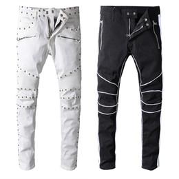 5c9bb3c2b3d181 2019 balmain neue ankunft mens designer marke schwarz weiße jeans dünne  zerrissene zerstörte stretch slim fit hop hop hosen günstig schwarze weiße  skinny ...
