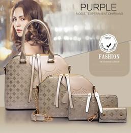 Женские сумочки онлайн-Роскошные дизайнерские женщины 4 шт. Набор модные сумки дамы сумки наборы кожа плечо офис сумка дешевые женские оболочки сумки продажа ручной мешок