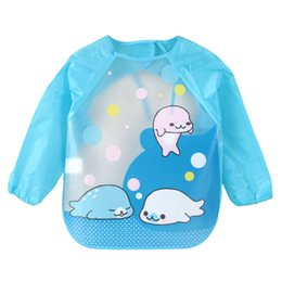 Wholesale Wholesale Children Aprons - DreamShining Cartoon Baby Bibs Colorful Long Sleeve Apron Waterproof Toddler Feeding Bibs Burp Cloths Children Painting Clothes