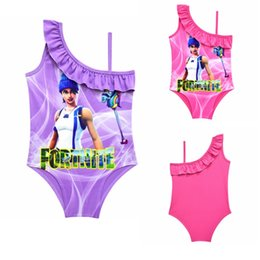 Wholesale xxl one piece swimsuit - 3 colors Game Fortnite printing children Swimwear 2018 summer One-Pieces baby girls Cosplay Swimsuit cartoon Bikinis MMA3567 60pcs