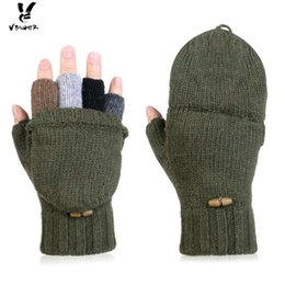 Wholesale Wholesale Wool Gloves For Women - Viger Winter Wool Flip Top Gloves Flocking Warm Knitted Gloves for Men and Women