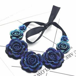 29ec06ea7a3e 2019 nuevas rosas azules Toda la ventaEuropean Office Style Jewelry Blue  Demon Ribbon Collar Roses Necklace