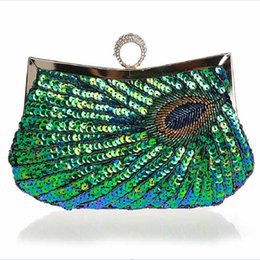 Wholesale Evening Peacock Clutch Handbags - 2016 Day Clutches Peocock Sequins Women's Evening Bag Handmade Beaded Clutch Purse Peacock Sequin Handbag with Chain