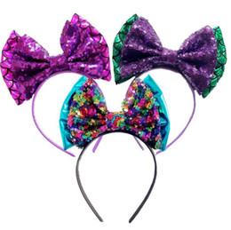 Wholesale Glitter Sequin Hair Bows - Mermaid Bow Headband Sequin Bow Glitter Metallic Hair Band Kids Hair Bows Hairbands Girls Hair Accessories OOA4715