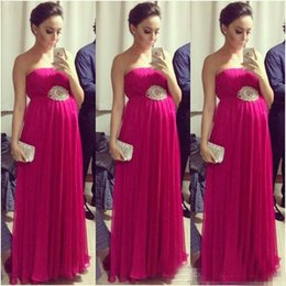 Wholesale Nude Sexy Women Photo - Fuchsia Empire Pregnant Prom Dresses 2017 Strapless Sleeveless Pleated Maternity Women Evening Formal Dress Red Carpet Celebrity