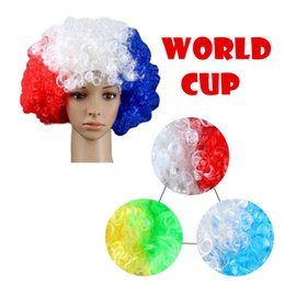 Wholesale Wholesale White Wigs - Country Flag Wig Party Supplies Accessorie Hairpiece Hairstyle For 2018 World Cup Soccer Fans Football Sport Cheerleader LJJN6
