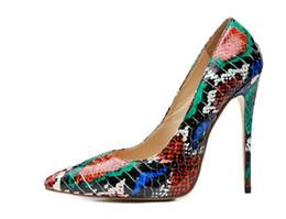 Vestidos de casamento da cor da mistura on-line-2019 marca mulheres sapatos de vestido ponto toe bombas sapatos de casamento lady snakeskin impressão de couro sapatos de salto alto sapatos de festa mix de cor saltos