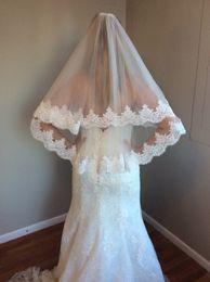 Véu de casamento de camada única on-line-2019 Frete grátis Lace Applique Borda 2 Camadas projeto único véu de noiva véu de noiva véu de cabelo longo