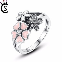 Wholesale Wholesale Pandora Cherry Blossom - S925 Sterling Silver Pink Flower Poetic Daisy Cherry Blossom Finger Ring for Women Engagement Fashion Jewelry Pandora style