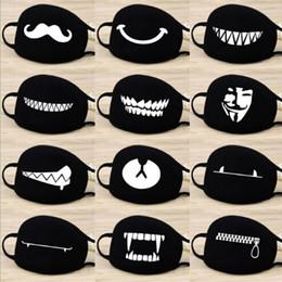 Máscaras de media boca online-Patrón de dibujos animados de moda sólida máscara de cara de algodón negro Lindo 3D de impresión cara media máscara de muffle Máscaras de fiesta máscara de ciclismo al aire libre