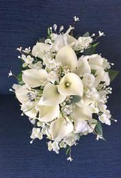 Fleurs de mariage en cascade en Ligne-Bouquet de mariée, bouquet de mariée, bouquet de lis calla, bouquet en cascade, accessoire de mariage, fleurs de mariage en soie, bouquet de soie, accessoire de mariée