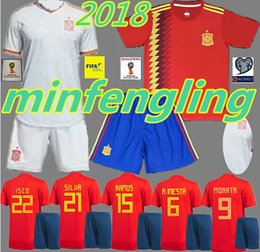 Wholesale Lavender Sets - Spain away Soccer Jersey 2018 world cup Spain home red soccer shirt Adults Set 2018 #9 MORATA #22 ISCO #20 ASENSIO Football uniforms sales