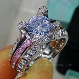 gem wedding Australia - Sz 5 6 7 8 9 10 Wholesale Free shipping Retro 10kt white gold filled GF pink sapphire Gem Simulated Diamond Engagement Wedding Ring set gift