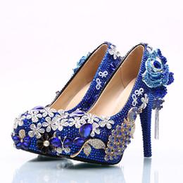 Blue Diamond Flowers Wedding Shoes 2018 Catene di fiori pumps Tacchi alti Scarpe da sposa 5cm 8cm 11cm 14cm Bling Bling Prom Shoes per Lady da