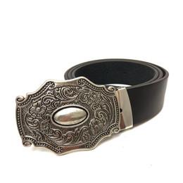 Wholesale Men Belt Buckles Western - Western cowboy Belts for men vintage leather belt men with retro belt buckle metal mens accessories for jeans