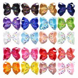 Wholesale large bows for hair - 6 Inch Hot stamping Hair Bows Jojo Bows With Clip For School Baby Children Large Sequin Bow Unicorn Bow Mermaid 10 Style