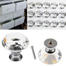armários de cozinha azul Desconto 30mm de Cristal De Diamante De Vidro Maçanetas Da Gaveta Do Armário Móveis Handle Knob Parafuso Acessórios Para Móveis