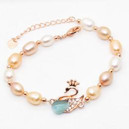 2019 doni cigni amanti 2018 Gioielli di moda Perle d'acqua dolce naturale Bracciale Swan 6-8mm grande perla Bracciale perla regala un regalo a sorpresa per gli amanti sconti doni cigni amanti