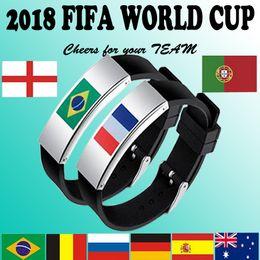 Brazil bracelets en Ligne-impression laser en acier inoxydable drapeau national en silicone bracelet