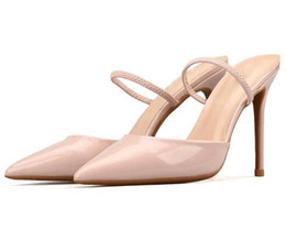 Eleganti scarpe beige online-Nuove scarpe a punta donna sandali classici slip on scarpe eleganti eleganti tacchi alti nero beige bianco estate zapatos mujer 2018