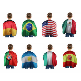 Wholesale Germany National - World Cup Flags 70*70cm USA Italy Germany National Flag Cloak Capes Cosplay Party Celebrate Decoration Supplies 200pcs OOA4825