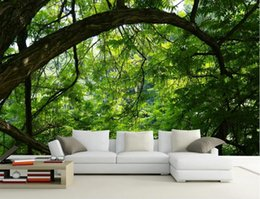 Fondo de pantalla de hojas verdes online-Custom Simple 3D Photo Wall Murals Sunny green leaves decoración 3D Wallpaper para sala de estar Dormitorio pintura de pared Mural Wallpapers
