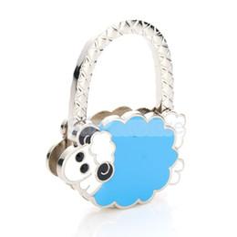 Wholesale Table Purse Holder Wholesale - Lamb Table Foldable Purse Bag Hanger Handbag Hook Holder Lady Gift Blue