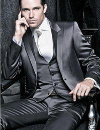 Wholesale tuxedo designs for wedding - Latest Coat Pant Designs 3 Pieces Gentleman Grey Classic Men Business Suit Regular Fit Men Suits For Wedding Groom Tuxedo