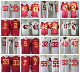 Camisetas de troy polamalu online-USC Trojan Reggie Bush Matt Barkley Troy Polamalu O. J Simpson Marcus Allen Ronnie Lott Clay Matthews Camisetas de fútbol americano universitario