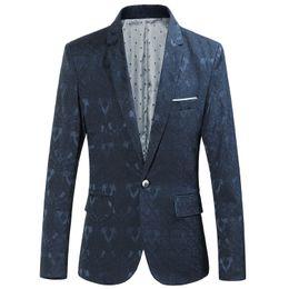e9ad6bea2f6 New Arrival Male Blazer Single buckle Men s Slim Floral Pattern Wedding  Classic Fashion Business Casual Suit Jacket discount men sky blue suit  blazer