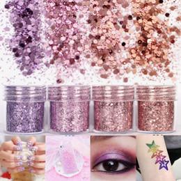 Rosa glitzer nagelspitzen online-4box 10ml Pink Purple Nail Art Glitter Powder Sheets Ultra-thin & 1mm Mixed Sequins Acrylic Tips Body Paint Nail Art Decoration