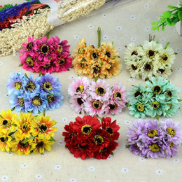 Wholesale decoration ball flower - 6pcs lot Mini Silk Chrysanthemum Artificial Silk Flowers Bouquet Wedding Decoration For DIY Scrapbooking Rose Flower Ball Floral
