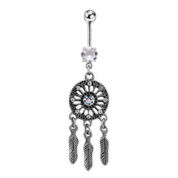 Wholesale dream catcher body jewelry - VelishyBody Jewelry Crystal Gem Dream Catcher Navel Dangle Belly Barbell Button Bar Ring Body piercing Art