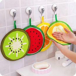 Wholesale bamboo wipes - Kawaii Fruit Print Hanging Kitchen Towel Microfiber Towels Quick-Dry Cleaning Rag Dish Cloth Wiping Napkin Scouring Pad DDA537