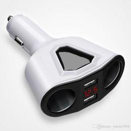 2019 support voiture tablette 3.1A Dual USB Car Charger avec 2 prises allume-cigare 120W Power Support Affichage Volmètre actuel pour téléphone tablette GPS DVR support voiture tablette pas cher