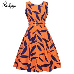 Wholesale Wholesale Black Tank Dresses - Ruiyig Black Floral Summer Women Work Dress Aurdey Vintage O-neck Sleeveless Tank Dress Ball Gown Casual Party Feminino Vestidos