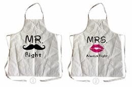 Schürzenmuster online-Ärmellose Schürze Herr und Frau Muster Männer Frauen Leinen Baumwolle Küche Kochschürze für Paare Reinigung Schürzen