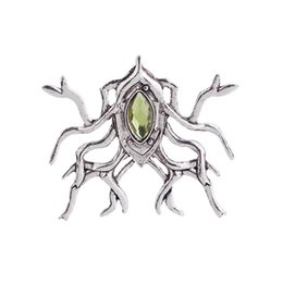 Wholesale Gemstone Ring Green - 2018 Thranduil Spider Brooch Punk Jewelry European and American Film The Hobbit Lord of the Rings Unique Gift MenGem Insect BroochZJ-0903224