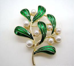 Spilla singola perla online-Spille Crystal Clothing Spille francesi originali smeraldi singoli splendidi gioielli con spilla antica in smalto modelli vintage foglie verde perla