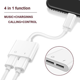 Wholesale Adapter Dual - 2 in 1 Dual For Headphone Audio Charger Adapter Connectors Cable Charging Music