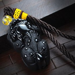 collier pixiu Promotion 5.0x3.0cm Naturel Noir Pendentif En Obsidienne Collier Obsidienne Pixiu Pendentif Bijoux Pierre Peut Drop Shipping