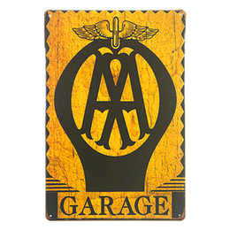 Оловянные вагоны онлайн-Винтаж шебби-шик металлическое олово признаки гараж полный сервис заправка в загородном настенные бляшки гараж бар стены декор