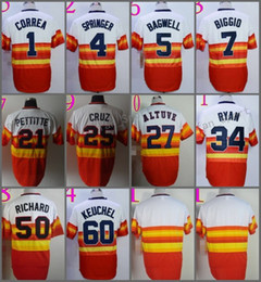 Wholesale Rainbow Flashing - Jeff Bagwell Craig Biggio Carlos Correa George Springer Dallas Keuchel Nolan Ryan Jose Cruz Jose Altuve Rainbow Orange Jersey
